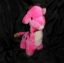 "12"" VINTAGE PINK & WHITE BABY GIRAFFE CARNIVAL TOY STUFFED ANIMAL PLUSH RED BOW"