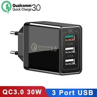Qualcomm QC 3.0 30W Fast Quick Charge 3 Port USB Wall charger adapter EU Plug