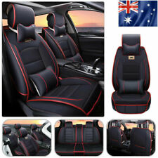 AU 5-Seat Car PU Leather Seat Cover SUV Front+Rear w/Neck Lumbar Pillows BLK/RD