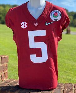 Javon Baker Game Used & Signed Alabama Crimson Tide Jersey Pants 2021 Rose Bowl