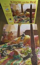 Rare SunsOut 550 piece Jigsaw Puzzle - KITTENS ON THE BED - Cat Hat - Complete