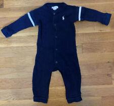 Ralph Lauren Baby Boy Thermal Romper Polo Infant 9 Months Navy Blue EUC