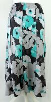 Per Una Womens Linen Grey Turquoise Floral Summer Flare Panelled Midi Skirt 16