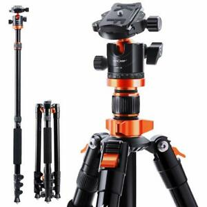 "K&F Concept 78"" Camera Tripod for DSLR Compact Aluminum W/ 360 Degree Ball Head"