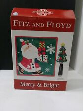 Fitz and Floyd Merry & Bright Snack Plate With Spreader Christmas Frosty Snowman