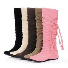 Pull on Synthetic Wedge Mid-Calf Women's Boots