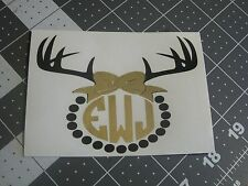 Deer Antlers with Bow Monogram Sticker Decal for Yeti or Artic cup or car decor