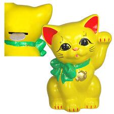 "Cute Japanese Welcome Cat Maneki Neko Yellow with Green Ribbon Coin Bank 6"""