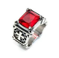 Christian Purity Red Cubic Zirconia Cross  Silver Ring Sizes 8-14