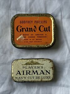 (2) Vintage Tobacco Tins - Phillips Grand Cut and Players Airman Navy Cut Lot