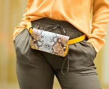 Bauchtasche echtes ital. Leder Python Optik Gelb Damen Tasche mit Gürtel