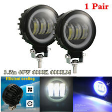 Universal 2Pc 3.5in 60W LED Fog Light+Angel Eye Rings Daytime Running Lights DRL