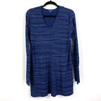 Pure Jill Indigo Womens Medium Tunic Top Sleeve Textured Stretch Blue