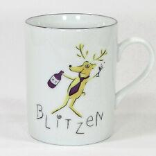 Pottery Barn REINDEER - BLITZEN 12oz Mug Cup Porcelain Thailand Christmas Mint