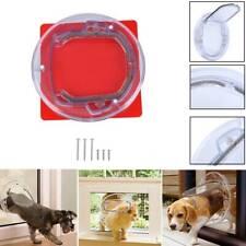 New Listing4 Way Round Pet Dog Cat Flap Door Wall Mount Magnetic Locking Sliding Screen