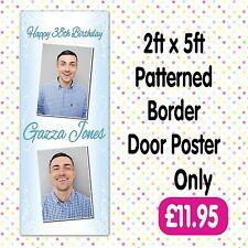 PERSONALISED 2 PHOTO BIRTHDAY PARTY DOOR BANNERS ANY AGE, NAME EVENT A005