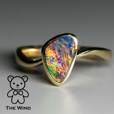 Rainbow Flame Australian Doublet Black Opal Engagement Ring 14k Yellow Gold