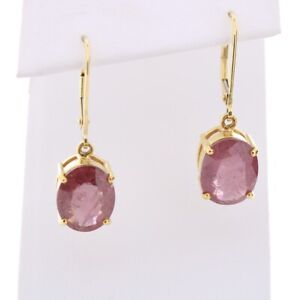18ct Gold ruby drop earrings MS216