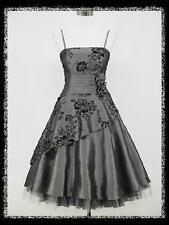 dress190 GREY 40/50s FLOCK TATTOO ROCKABILLY COCKTAIL PARTY PROM DRESS UK 20-22