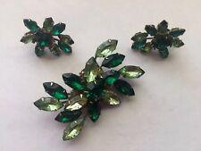 Vintage 3 Pc Lot Signed Cathe Multi Lime & Green Rhinestones Pin Brooch Earrings