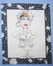WHIMSICAL LORALIE LADY NURSE MEDICAL DOCTOR QUILT BLOCK FABRIC PANEL FRAME #2