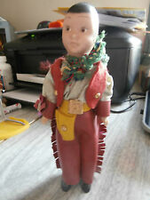 Vintage Hard Plastic Character Doll Cowboy Gun Holster Fringed Chaps 1950s