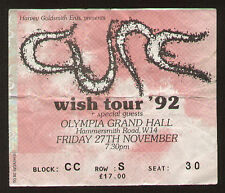 RARE CONCERT TICKET STUB THE CURE WISH TOUR '92 LONDON OLYMPIA GRAND HALL