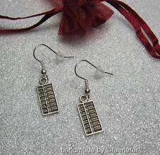 Cute abacus charm earrings for maths teacher accountant in organza gift bag