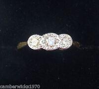 Antique Art Deco 18ct Gold Platinum & Diamond Three Stone Ring, Size K