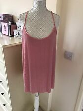 Brand New With Tags Next Christmas Party Pink Straps Silver Striped  Top Size 14