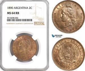 AF831, Argentina, 2 Centavos 1890, NGC MS64RB