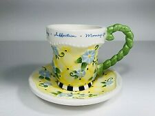 Mary Engelbreit Teacup Candle Saucer Yellow Bee Blue Morning Glory Flower Michel