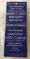 Osage Beach Missouri LAKEVIEW CAFE-CABINS Dale & Eva Stephenson MATCHBOOK COVER