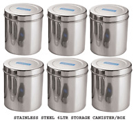 Stainless Steel Storage Box Kitchen Dabba Container 6 Liter Canister 6 Pcs Set