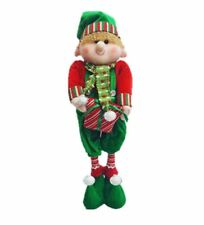 Starmo Boy Elf Extendable Legs Christmas Decorations Approx 42-65cm Green & Red