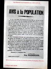 LUNEVILLE HENAMENIL 54: AVIS à la POPULATION Général ALLEMAND Von FASBENDER 1914