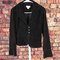 Loft button front blazer jacket corduroy cotton women's 2 black