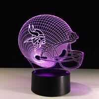 Minnesota Vikings 3D LED NFL Lamp Home Decor Gift Kirk Cousins