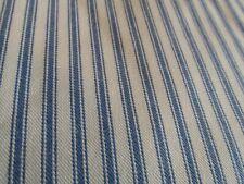 Farmhouse home decor blue ticking stripe cotton fabric BTHY half yard 58
