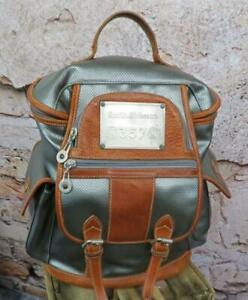 SMITH & WESSON 357 BACKPACK RUCKSACK BAG METALLIC SILVER GREY PVC & TAN LEATHER