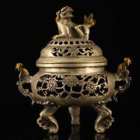 "7"" Chinese antique Tibetan silver handmade gilt gold Phoenix ear Incense Burner"