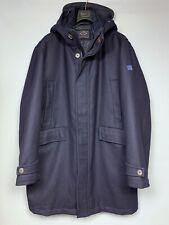 Men's PAUL & SHARK Navy Wool Jacket Size 3XL Long Hooded Parka Full Zip Coat