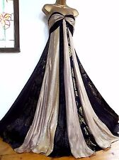 MONSOON ✩ STUNNING RHEA SILK & SEQUIN BLACK & GOLD MAXI EVENING DRESS ✩ UK 12 ✩