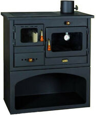 Stufa a legna  Cucina acciaio MOD. MIA con forno antracite focolare refrattario
