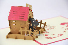 Doghouse Kennel Dog 3D Pop Up Greeting Handmade Kirigami Cards All Occasion