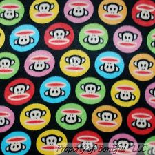 BonEful Fabric Fleece BT2Y 2 Yards Black Rainbow Polka Dot Paul Frank Monkey Boy
