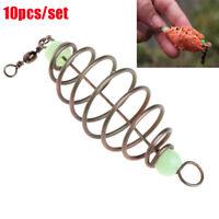 10 Pcs/Set Stainless Steel Feeder Fishing Bait Hanging Tackle Spring Lure