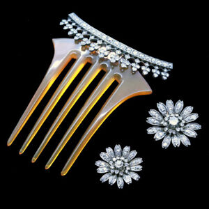 Victorian Hair Combs Brooches Tiara Antique Gold Diamonds Silver Set Paris (6544