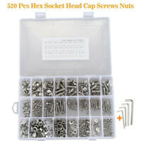 520x M3 M4 M5 M6 304 Stainless Steel Socket Cap Bolt Screw Allen Wrench Tool Set