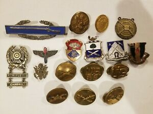Military Pins Badges And Dui Unit Crest Insignia Collection. Sterling